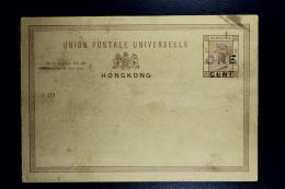 Hong Kong:  Postcard 1 Cent Surcharged On 3 Cents Not Used - Hong Kong (...-1997)