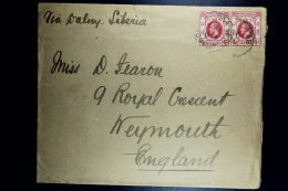 Hong Kong: Cover 1913  Shanghai Cancels On Strip Of 2* 4 Cent Via Siberia To Weymouth UK - Hong Kong (...-1997)
