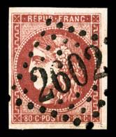 N°49d, 80c Groseille, Obl GC '2602', SUPERBE (signé Calves/certificat)    Qualité: O   Cote: 1200 Euros - 1870 Emission De Bordeaux