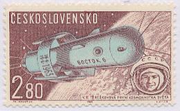 Czechoslovakia / Stamps (1963) L0055 (Air Mail Stamp): Vostok 6, Valentina Tereshkova (1937); Painter: F. Hudecek - Space