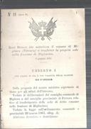 MIGLIARO -REGGIO DECRETO. AUTORIZZA IL COMUNE AL TRASFERIMENTO DELLA SEDE NELLA FRAZIONE DI MIGLIARINO.1881..MM15 - Decreti & Leggi