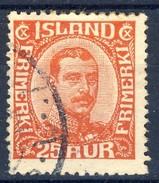 #Iceland 1921. King Christian X. Michel 102. Used - Usados