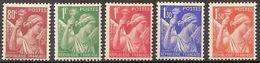 France N° 431 à 435 Neuf* - 1939-44 Iris