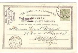 Denmark Découpure D'entier 5 öre Kjobenhavn/Copenhague 1903 To Brussels Belgium PR4022