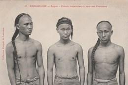 SAIGON - BEAUX PORTRAITS DE TROIS MECANICIENS CHINOIS A BORD DES CHALOUPES - TOP !!! - Vietnam
