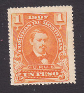 Honduras, Scott #126, Mint Hinged, President Medina, Issued 1907