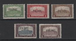1918-19 Fiume Francobolli Di Ungheria Sopr. MLH 80 F. 1 K. 2 K. 3 K 5 K. +++ - 8. Occupazione 1a Guerra