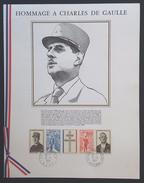 Plaquette HOMMAGE A CHARLES DE GAULLE Oblitérations Lille Et Colombey 9 Novembre 1971 - Marcophilie (Lettres)