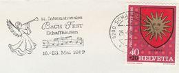 1982  SWITZERLAND COVER Illus BACH INTERNATIONAL FESTIVAL EVENT SLOGAN  Schaffhausen  Stamps Music Theatre - Music