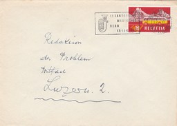 1955 Bern KANTONALES MUSIC FEST Cover SLOGAN Illus Instrument Stamps Switzerland - Music