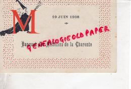 16 - ANGOULEME - MENU BANQUET DES MEDECINS DE LA CHARENTE-19 JUIN 1938- MEDECIN  MEDECINE - Menus