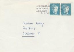 1964 COVER SWITZERLAND World HARMONICA FESTIVAL SLOGAN Music Stamps Pro Juventute Theatre - Music