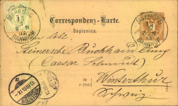 1884, 2 Kr. Wappenkarte (Slovenisch) Mit Zusatzfrankatur Ab MARBURG In Die Schweiz. - Ganzsachen