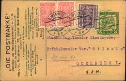 1924, 8 Kr. Feldpostkarte Mit Zudruck Als Formular Zum Sondertarif  Nach CSR