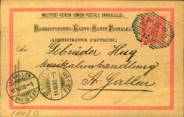 1900, 10 H. Ganzsachenkarte Im Türbogenmuster (Text AUTRICHE) Ab BREGENZ