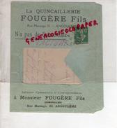 16 - ANGOULEME - ENVELOPPE + LETTRE- LA QUINCAILLERIE FOUGERE FILS- 33 RUE MARENGO- 1916 - France
