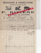 16 - ANGOULEME - FACTURE P. RIVIERE- 135 PLACE VICTOR HUGO- BOUCHERIE CHARCUTERIE- BOUCHER CHARCUTIER-1920 - France
