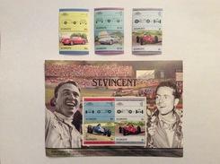 Foglietto Con 2 Valori Doppi E 3 Val. Doppi Di St. Vincent Del 1985 Sulla Ferrari - Automovilismo