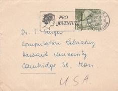 1954 SWITZERLAND COVER SLOGAN Illus PRO JUVENTUTE WOMAN Zurich To USA Stamps - Switzerland