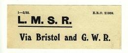 Railway Luggage Label LMS Via Bristol & GWR - Railway