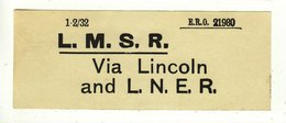 Railway Luggage Label LMS Via Lincoln & LNER - Railway