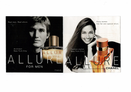 Cartes Parfumées Carte CHANEL ALLURE Et ALLURE HOMME   De CHANEL DOUBLE CARTE RABAT   RECTO VERSO AMÉRICAINE - Perfume Cards