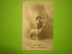 """Cpa Petite Fille Avec Baton, Agneau, """"qu'il Vous Apporte Paix Et Bonheur"""" Envoyée à Courcelles 1919, Timbre (O1) - Holidays & Celebrations"""