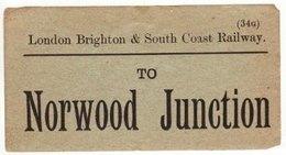Railway Luggage Label LBSCR Norwood Junction London Brighton & South Coast - Railway