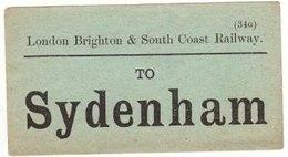 Railway Luggage Label LBSCR Sydenham London Brighton & South Coast - Railway