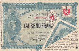 Tausend Franken Von Der Bank Reiden - V. L. Meyer's Versandhaus - 1899   (P18-10529) - Publicidad