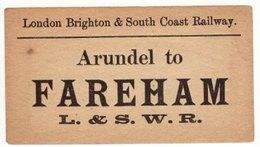 Railway Luggage Label LBSCR Arundel To Fareham L&SWR London Brighton & South Coast - Railway