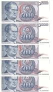 YOUGOSLAVIE 5000 DINARA 1985 UNC P 93 ( 5 Billets ) - Yougoslavie