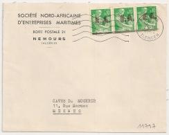 Surcharges E A Etat Algérien Sur Moissonneuse. NEMOURS TLEMCEN Algérie Sur Enveloppe. 23/10/1962. - France