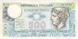 Billet De 500 Lire Cinquecento Italiana 1974 / Billet De Banque D´ Italie , ITALIA - 500 Lire