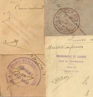Rhone , Prisonniers De Guerre  Sur 4 Enveloppes. GIVORS, ST COLOMBE, GARE De LYON VAISE Et Les Vacques. - France
