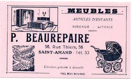 Buvard P. Beaurepaire à Saint-Amand. Meubles, Articles D'enfants, Literie Et Rideaux. Illustration : Landau, Chambre. - Vloeipapier