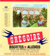 """Buvard Grégoire, Biscottes Allégées. Biscottes """" Aux Martinets """". Illustration : Le Pont Du Gard. - Biscottes"""