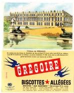 """Buvard Grégoire, Biscottes Allégées. Biscottes """" Aux Martinets """". Illustration : Le Château De Versailles. - Biscottes"""