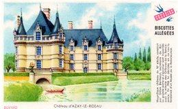 """Buvard Grégoire, Biscottes Allégées. Biscottes """" Aux Martinets """". Illustration : Le Château D'Azay Le Rideau. - Biscottes"""