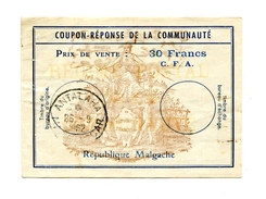 !!! COUPON REPONSE DE LA COMMUNAUTE, REPUBLIQUE MALGACHE CACHET DE 1962 - Postal Stamped Stationery