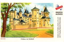 """Buvard Grégoire, Biscottes Allégées. Biscottes """" Aux Martinets """". Illustration : Le Château De Saumur. - Biscottes"""