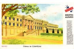 """Buvard Grégoire, Biscottes Allégées. Biscottes """" Aux Martinets """". Illustration : Le Château De Compiègne. - Biscottes"""