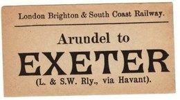 Railway Luggage Label LBSCR Arundel To Exeter London Brighton & South Coast - Railway