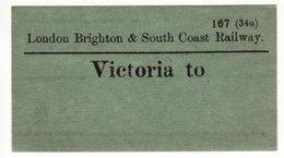 Railway Luggage Label LBSCR Victoria To London Brighton & South Coast - Railway