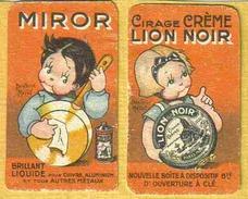 Beatrice MALLET - Rare 2 Petites Cartes Publicité Cirage Lion Noir & Miror - Mallet, B.
