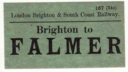 Railway Luggage Label LBSCR Brighton To Falmer London Brighton & South Coast - Railway