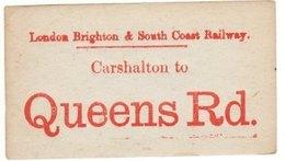 Railway Luggage Label LBSCR Carshalton - Queens Rd London Brighton & South Coast - Railway
