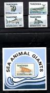 TANZANIA, 1993,MARINE GIANTS ANIMALS 4v.+M/S,  MNH**