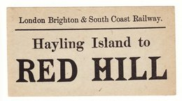 Railway Luggage Label LBSCR Hayling Island Closed 1963 - Red Hill LB&SCR Redhill - Railway