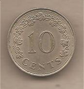 Malta - Moneta Circolata Da 10 Centesimi - 1972 - Malta